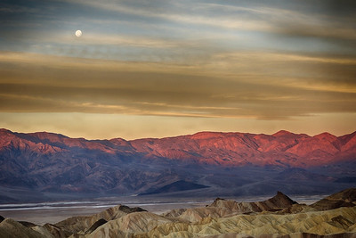 Moon Set over Zabriskie Point - Death Valley