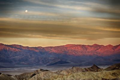 Moon Set over Zabriskie Point - Death Valley