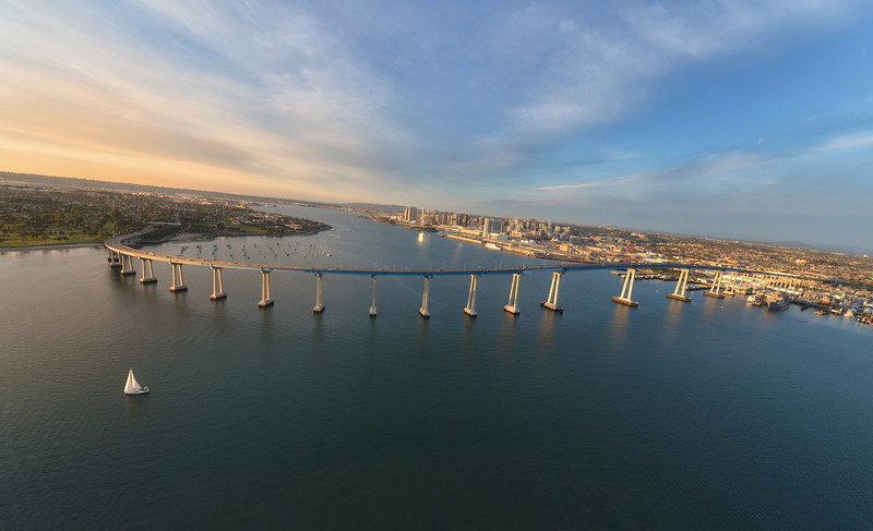 Taken off Coronado of the curved Coronado Bridge this afternoon. We took the doors off the Helicopter to get crystal clear shots without the glare.  It was freezing.