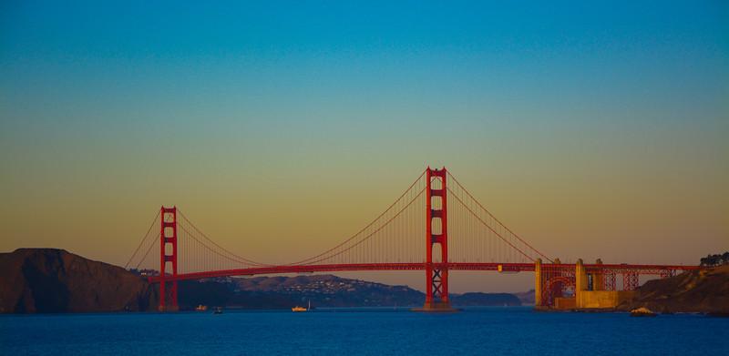 Golden Gate Bridge at sunset, as seen from China Beach