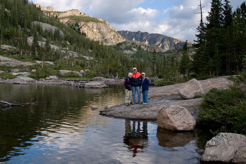 Karen, Lyn and Frank at Mills Lake, Rocky Mountain National Park, Colorado. Looking northwest.