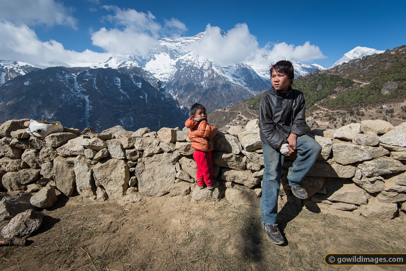Enjoying the view at the top of Namche