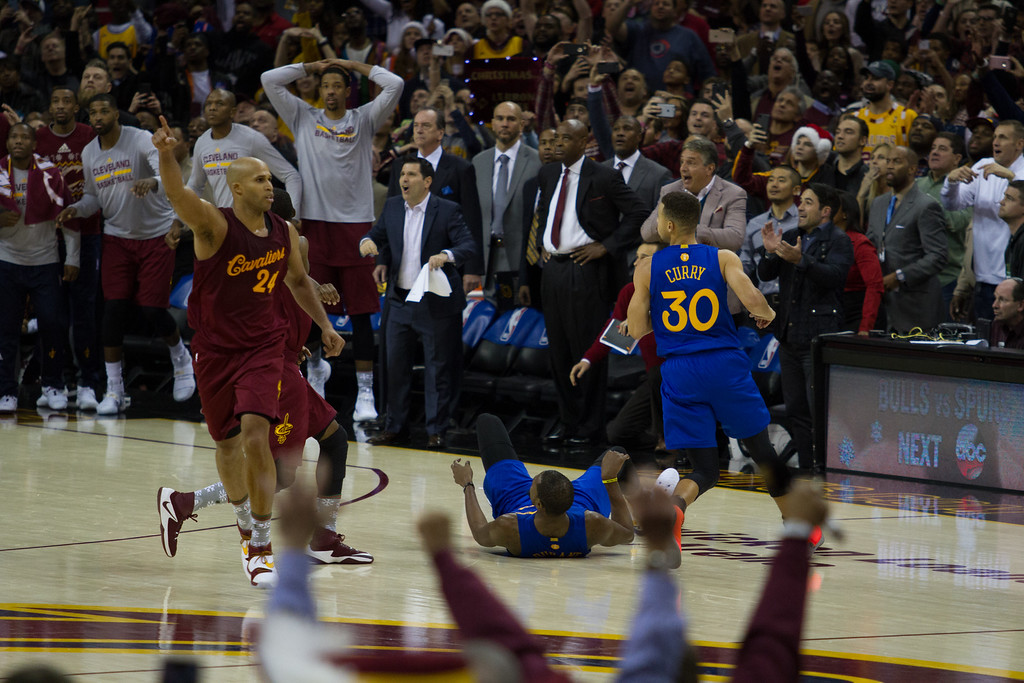 . Richard Jefferson (24) of the Cleveland Cavaliers celebrates defeating the Warriors at the Quicken Loans Arena on Christmas day.  The Cavs defeated the Warriors 109-108.  Michael Johnson - The News Herald