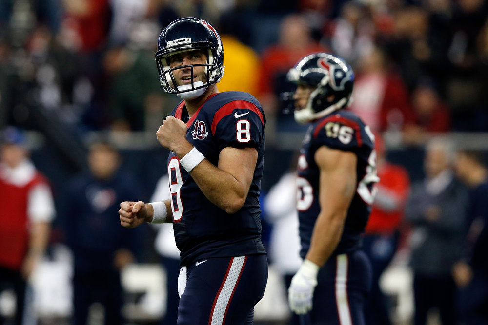 Description of . Matt Schaub #8 of the Houston Texans reacts against the Cincinnati Bengals during their AFC Wild Card Playoff Game at Reliant Stadium on January 5, 2013 in Houston, Texas.  (Photo by Scott Halleran/Getty Images)