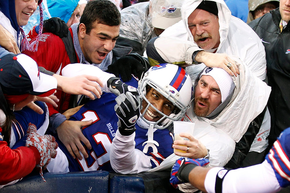 . Buffalo Bills wide receiver Stevie Johnson (13) celebrates a touchdown catch with fans during the second half of an NFL football game against the Jacksonville Jaguars, Sunday, Dec. 2, 2012, in Orchard Park, N.Y. (AP Photo/Bill Wippert)