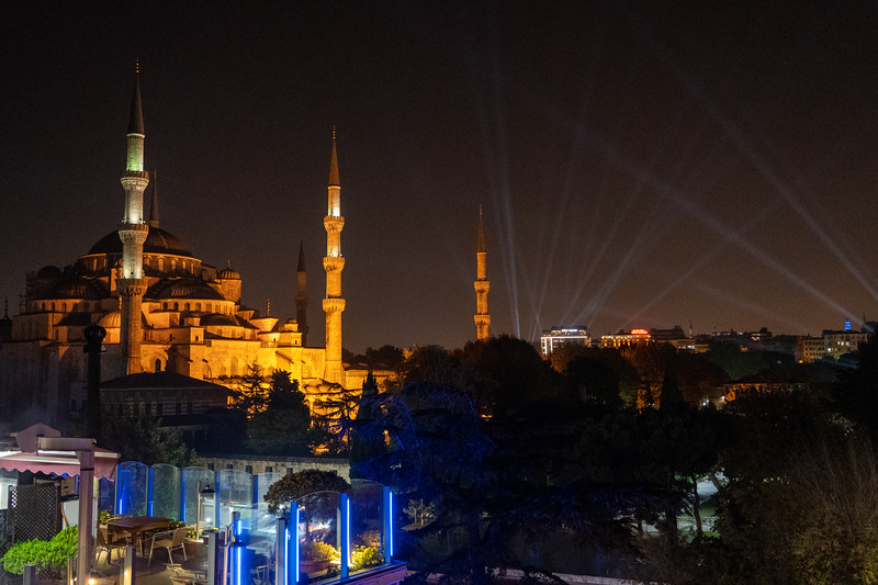 Blue Mosque at night from Magnaura Palace Hotel