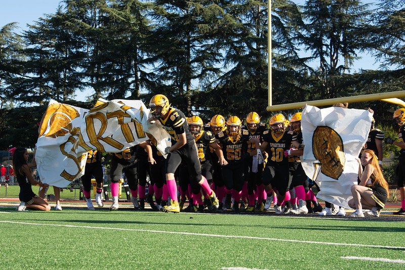 Taken at a High School Football game between the Lynbrook Hight School Vikings and Mountain View Spartans at MVHS in Mountain View California 10-12-2018. Final score 7-63 to the Spartans.