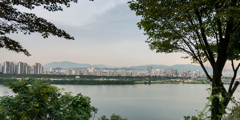 River with city in the background, Seoul, South Korea