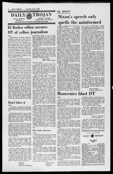 Daily Trojan, Vol. 61, No. 38, November 06, 1969