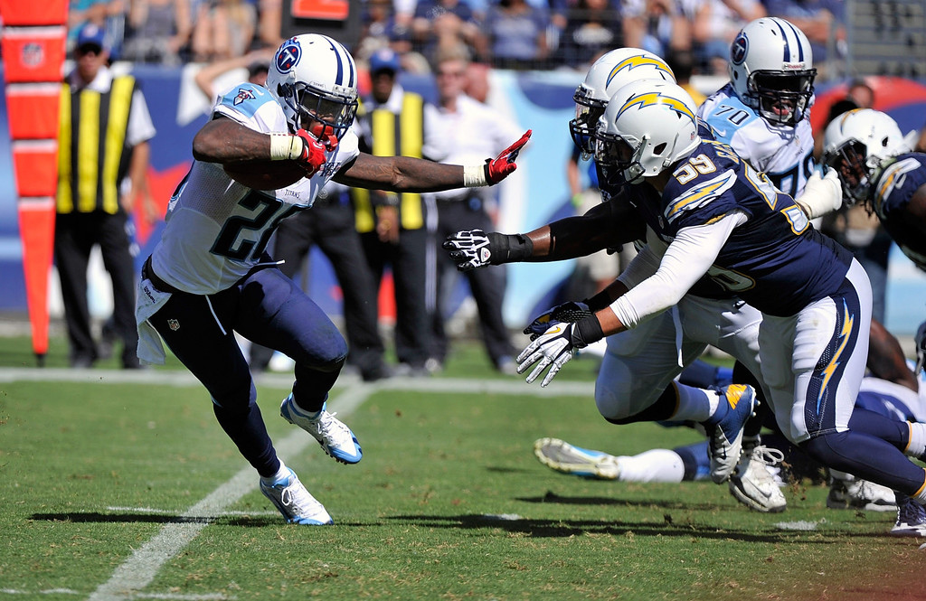 . Running back Chris Johnson #28 of the Tennessee Titans rushes against the San Diego Chargers at LP Field on September 22, 2013 in Nashville, Tennessee.  (Photo by Frederick Breedon/Getty Images)