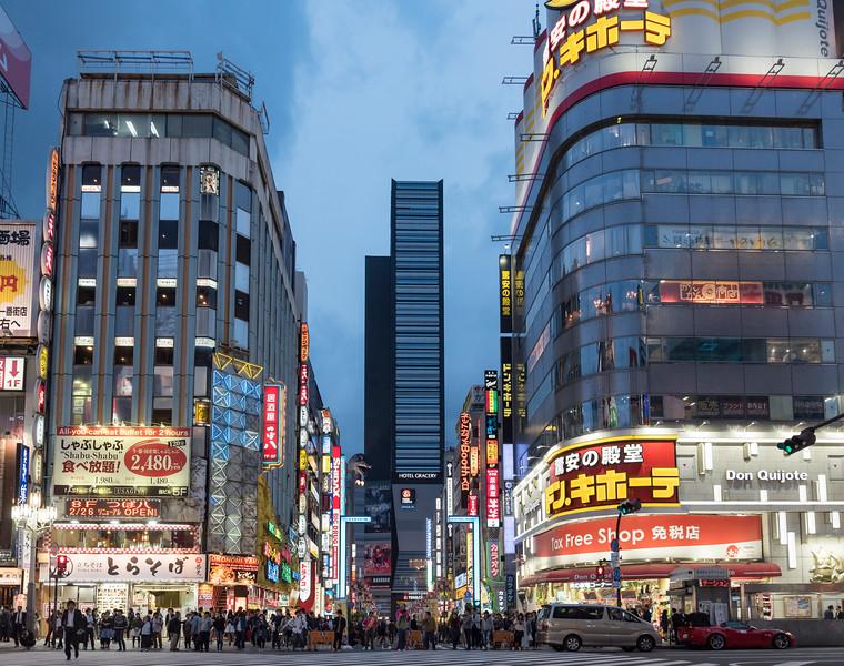Kabukicho Crossing at night-fall, Shinjuku, Tokyo, Japan
