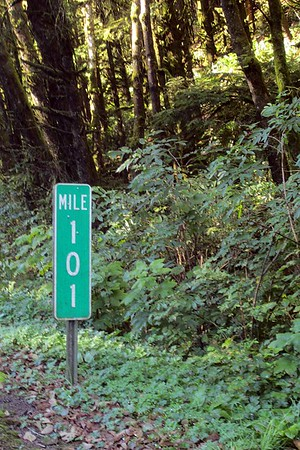Highway 101, Mile 101 marker north of Lincoln City [Vivienne]