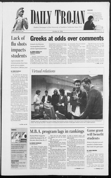 Daily Trojan, Vol. 153, No. 41, October 21, 2004
