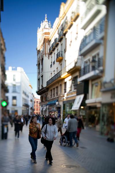 Pedestrians on Tetuan street, Seville, Spain. Tilted lens used for shallower depth of field.