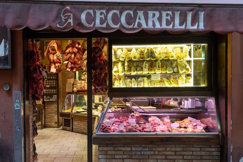 Meat shop in the Quadrilatero in Bologna