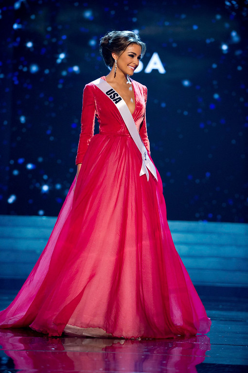 . Miss USA 2012 Olivia Culpo competes in an evening gown of her choice during the Evening Gown Competition of the 2012 Miss Universe Presentation Show in Las Vegas, Nevada, December 13, 2012. The Miss Universe 2012 pageant will be held on December 19 at the Planet Hollywood Resort and Casino in Las Vegas. REUTERS/Darren Decker/Miss Universe Organization L.P/Handout