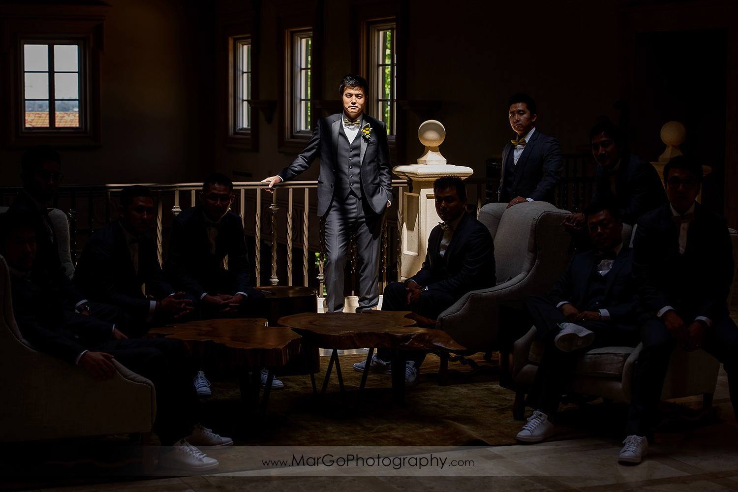 low key portrait of the groom and groomsmen at the Club at Ruby Hill in Pleasanton