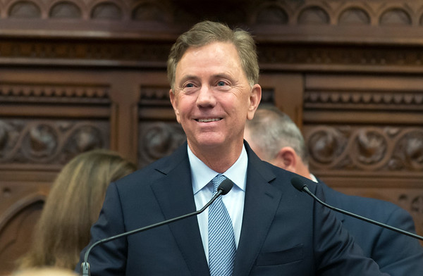 01/09/19 Wesley Bunnell | Staff Governor Ned Lamont smiles just prior to his State of the State speech to a joint session of the CT General Assembly.