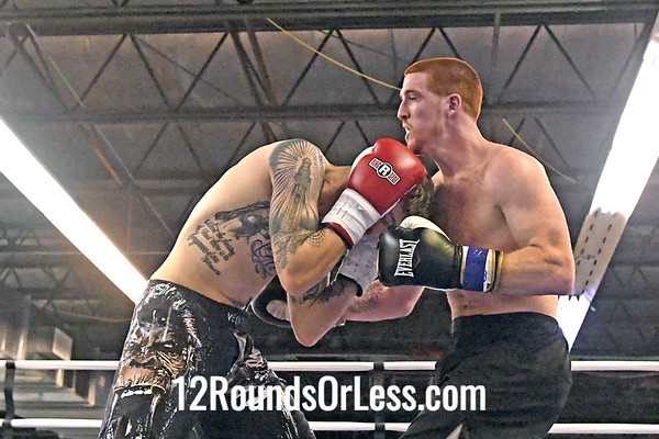Bout 3 Semi-Pro Boxing Andrew Odell, Black Gloves -vs- Ethan Hayes, Red Gloves, Lightheavyweight