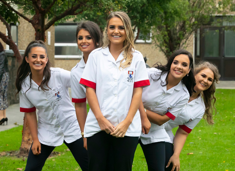 26/09/2019. Nurses Graduation at University Hospital Waterford. Pictured are Lauren McGrath Cork, Eimear Fitzpatrick Kilkenny, Meg Fitzgerald Cork, Mairead McSweeney Cork  and Laura Clarke Tipperary. Picture: Patrick Browne