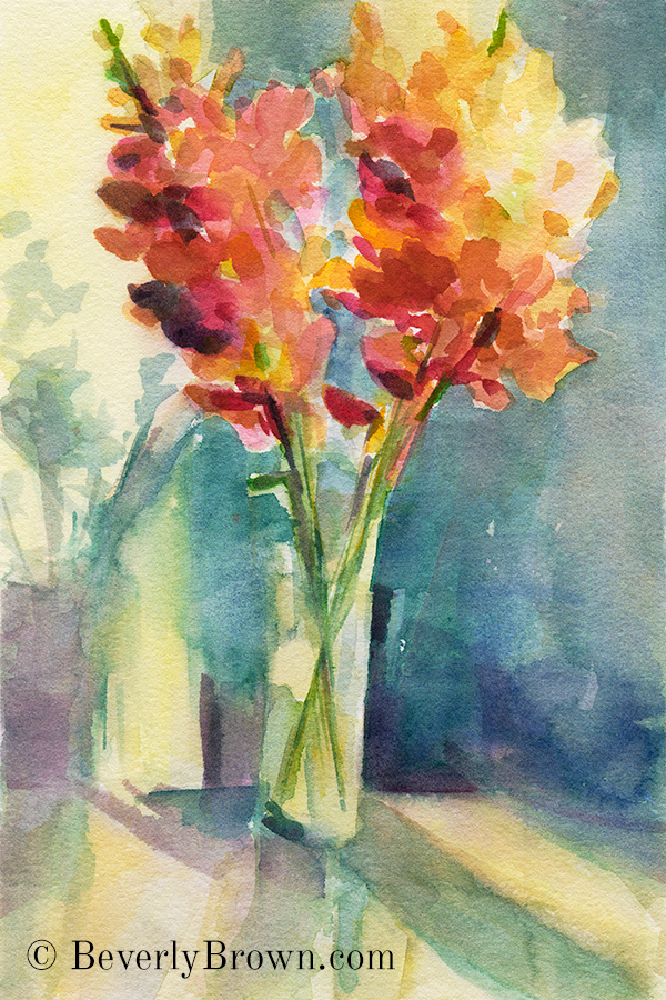 impressionist watercolor flowers step by step