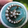 1.40ctw Victorian Rose Gold Crescent and Star Ray Brooch/Pendant 10