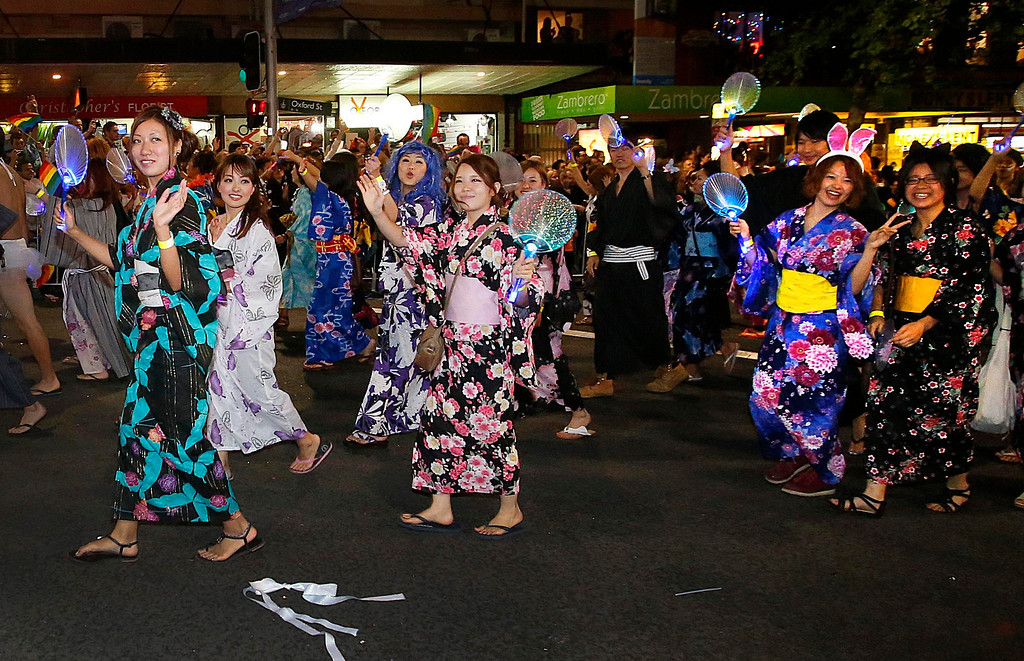 ". Members of the group ""Kimonomania - Kimonomanio\"" participate in the 35th annual Sydney Gay and Lesbian Mardi Gras parade March 2, 2013.         REUTERS/Tim Wimborne"