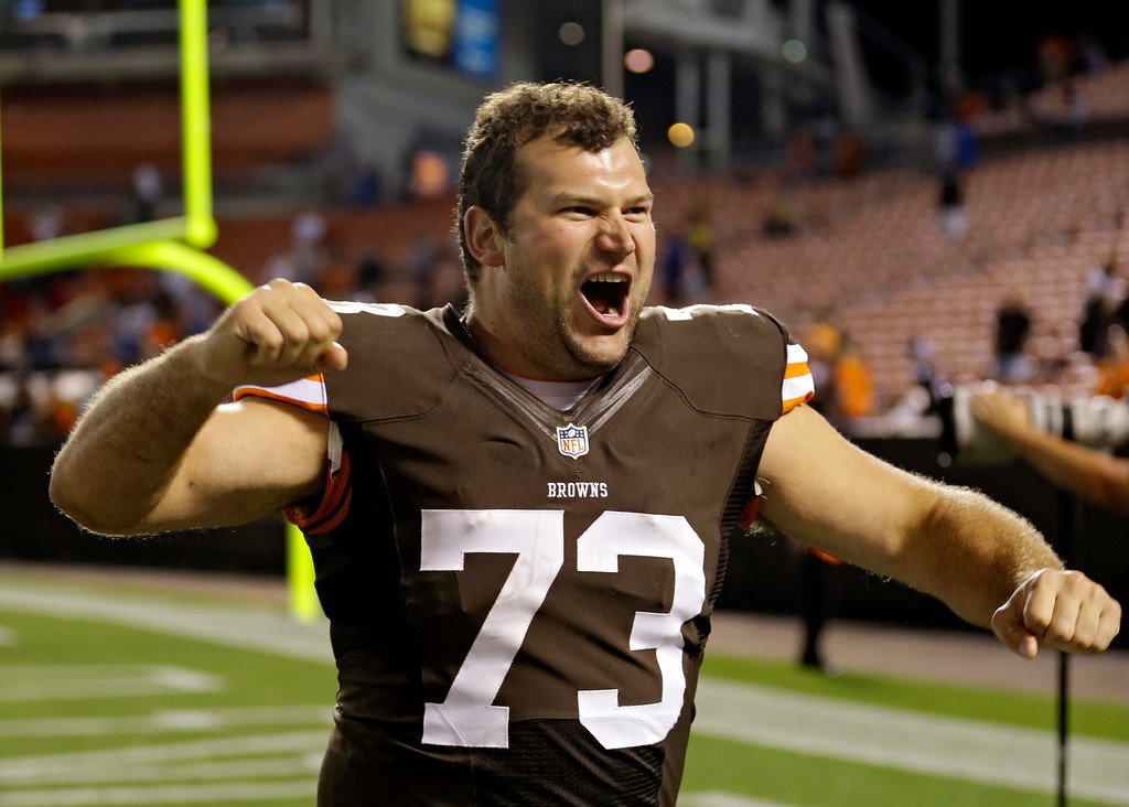 . Cleveland Browns tackle Joe Thomas celebrates after a 24-6 win over the Detroit Lions in a preseason NFL football game, Thursday, Aug. 15, 2013, in Cleveland. (AP Photo/Tony Dejak)