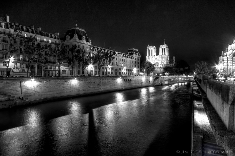 Ile de la Cite, Paris - night time view.