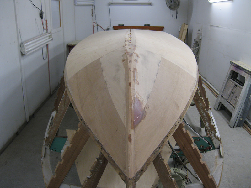 Front view of keel ready for sanding.
