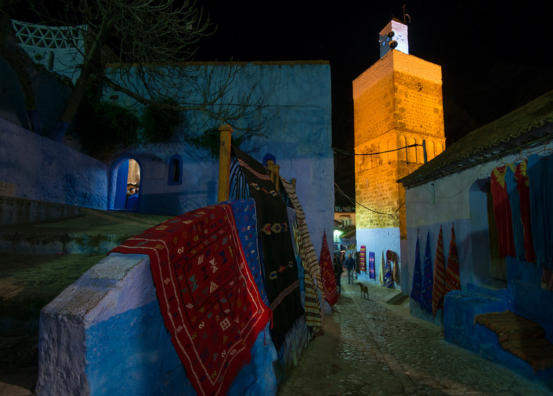 The old medina at night.  Chefchaouen boasts one of the most enjoyable, funky medinas in all of Morocco. Though trekking up and down the hillside can make for some sore legs at the end of the day, luckily there are plenty of cafés to plop down and recharge. Unlike the medina of Marrakech or the Kasbahs of Tangier and Rabat, foreigners haven't really been able to purchase old houses and convert them to upscale riads so many of the local populace still actually lives in the Medina. The people of Chefchaouen are, for the most part, really pleasant and foreigners can stroll through the blue walled medina without being harassed by touts and venders too much. Most of the shop keepers have a relaxed attitude and will not hassle you.  Chefchaouen, Morocco, 2018.