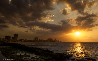 The Malecón at sunset, Havana