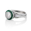 1.30ctw Old European Cut Diamond Emerald Target Ring 1