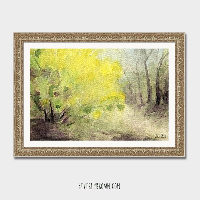 Forsythia Central Park landscape framed print by Beverly Brown.