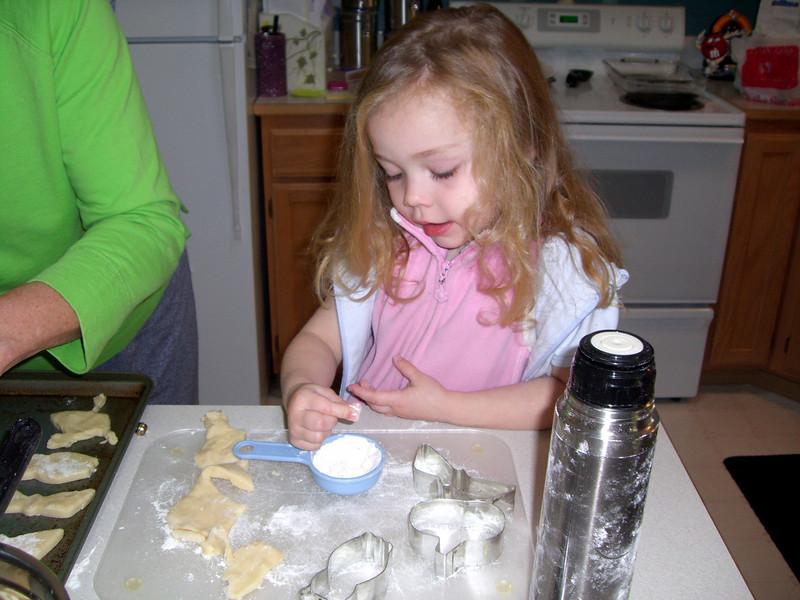 Baking Halloween cookies.