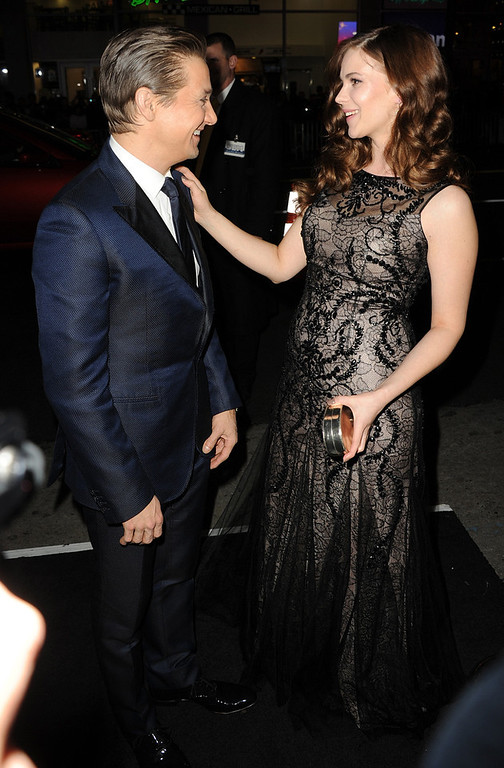". Actors Jeremy Renner and Pihla Viitala arrive for the Los Angeles premiere of Paramount  Pictures\' ""Hansel And Gretel Witch Hunters\"" at TCL Chinese Theatre on January 24, 2013 in Hollywood, California.  (Photo by Kevin Winter/Getty Images)"