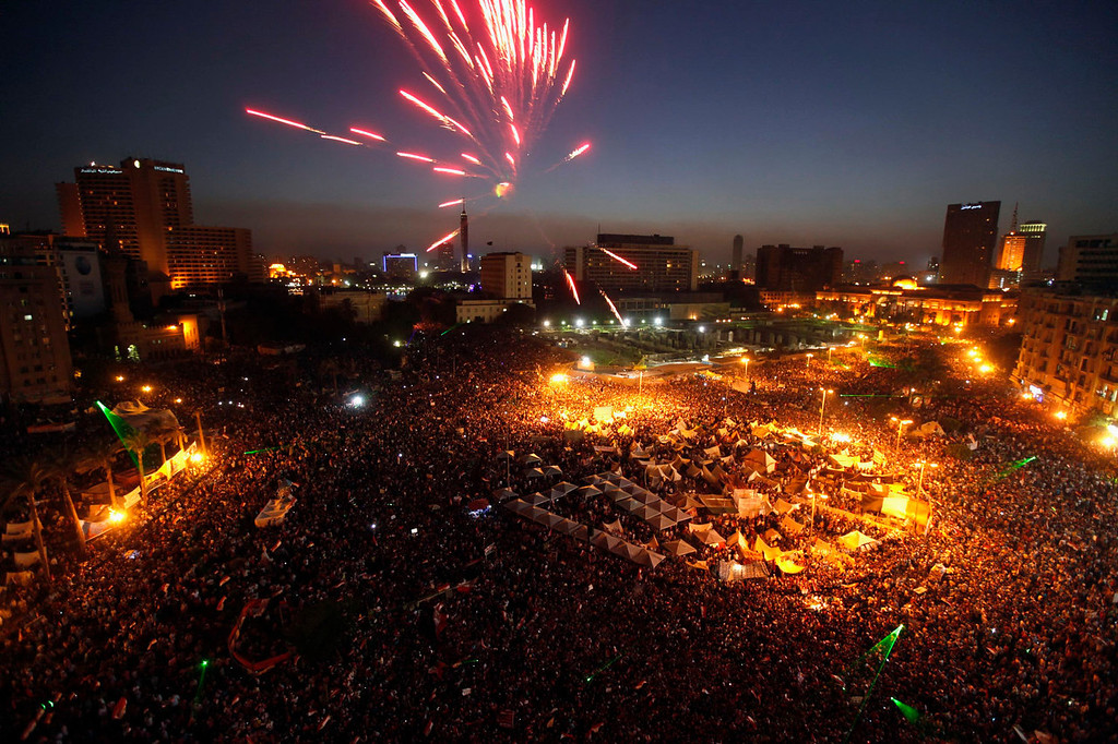 . Protesters opposing Egyptian President Mohamed Mursi set off fireworks during a protest at Tahrir Square in Cairo June 30, 2013. Egyptians poured onto the streets on Sunday, swelling crowds that opposition leaders hope will number into the millions by evening and persuade Islamist President Mohamed Mursi to resign. REUTERS/Mohamed Abd El Ghany