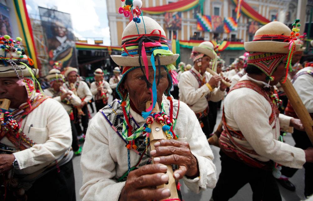 Description of . Musicians perform after Bolivia's President Evo Morales, not in picture, delivered his state of the nation address in La Paz, Bolivia, Tuesday, Jan. 22, 2013. Morales is marking his seventh year as president. During his address Morales said his ally Hugo Chavez