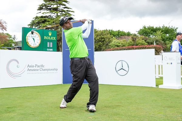 J M D Indika from Sri Lanka hitting off the 1st tee on Day 1 of competition in the Asia-Pacific Amateur Championship tournament 2017 held at Royal Wellington Golf Club, in Heretaunga, Upper Hutt, New Zealand from 26 - 29 October 2017. Copyright John Mathews 2017.   www.megasportmedia.co.nz