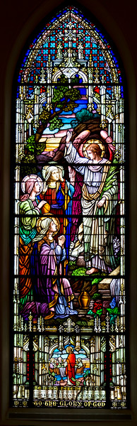 One of many Tiffany stained glass windows in the Trinity nave.