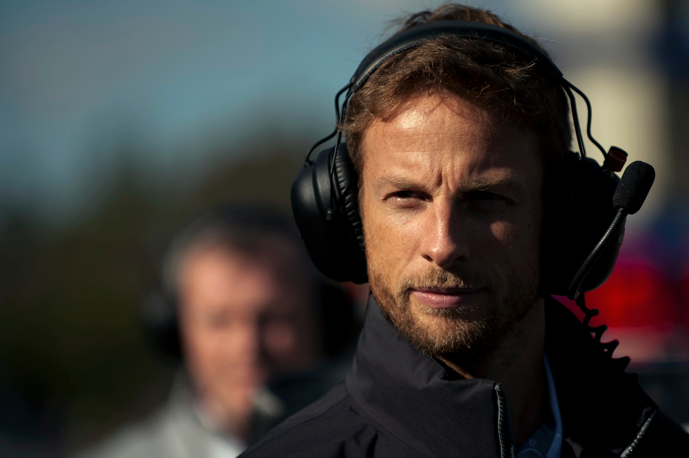 . McLaren Mercedes\' British driver Jenson Button takes part during the Formula One pre-season test days at Jerez racetrack in Jerez on January 30, 2014. (Jorge Guerrero/AFP/Getty Images)