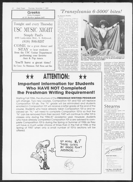 Daily Trojan, Vol. 100, No. 47, November 07, 1985