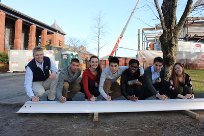 STEM Construction - Sixth Form sign the final beam