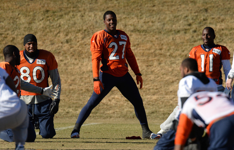 . Denver Broncos Julius Thomas (80), Knowshon Moreno (27) and Trindon Holliday (11) are warming up for the team practice at Dove Valley. Centennial Colorado. January 17. 2014. (Photo by Hyoung Chang/The Denver Post)