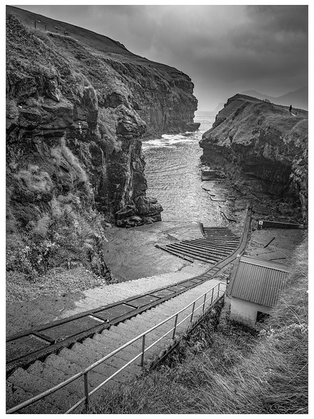 Faroe Boat Ramp and Stairs   Black and White Photography by Wayne Heim