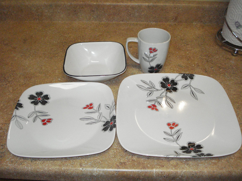 New Plates, Bowls, and Cups  Just picked these up today. Mom thought they were very exciting, so I'm posting them here to share with all of you.