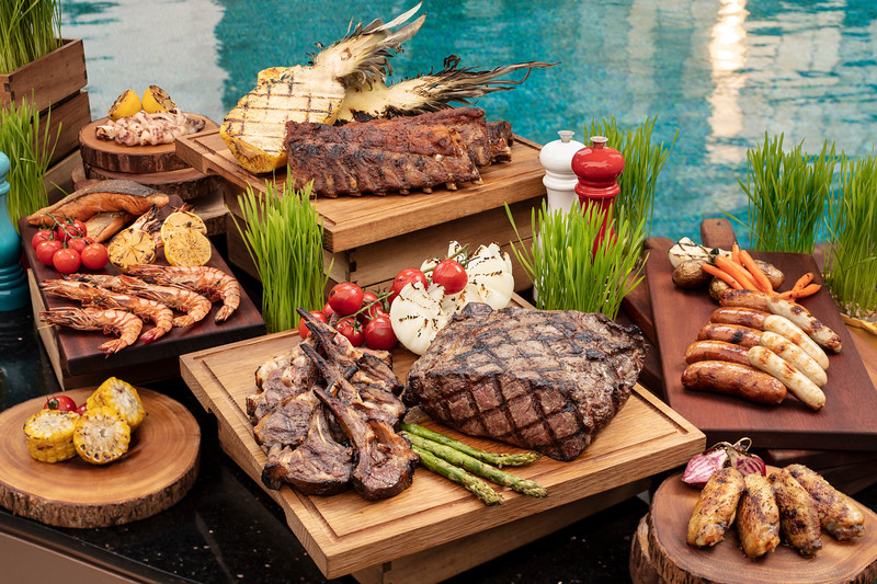 Poolside buffet at the Countdown Hotel in the City of Dreams resort in Macau.