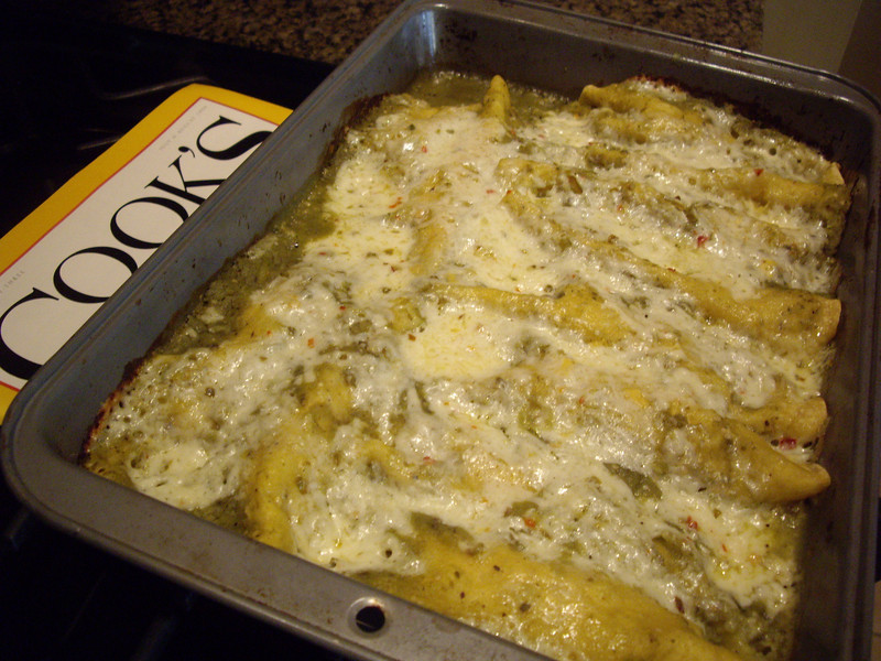 Enchiladas Verdes from Cooks Illustrated.  Awesome.