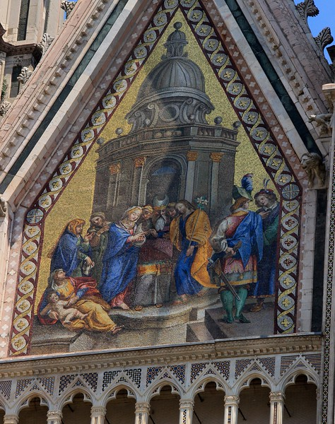 The last round of mosaic improvements was done in 1842. Orvieto Cathedral.