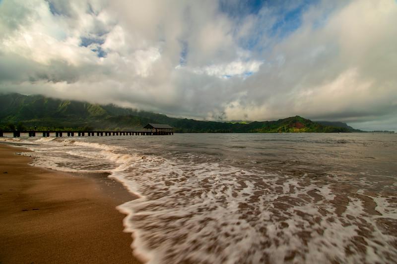 Hanalei Bay Pier at Sunset. Kauai, Hawaii.